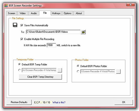 BSR Screen Recorder 4 File Settings