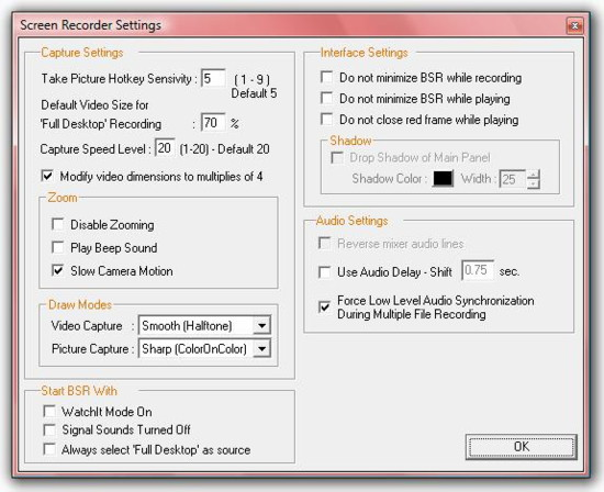 BSR Screen Recorder 4 Other Settings Page