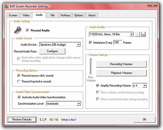 BSR Screen Recorder 4 Audio Settings