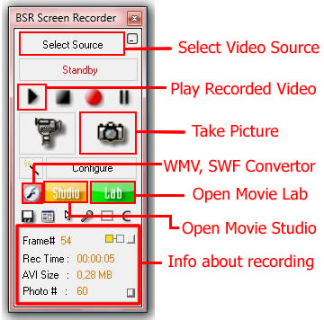 BSR Screen Recorder 4 Main Interface